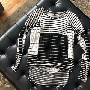 BCBG black and white striped shirt